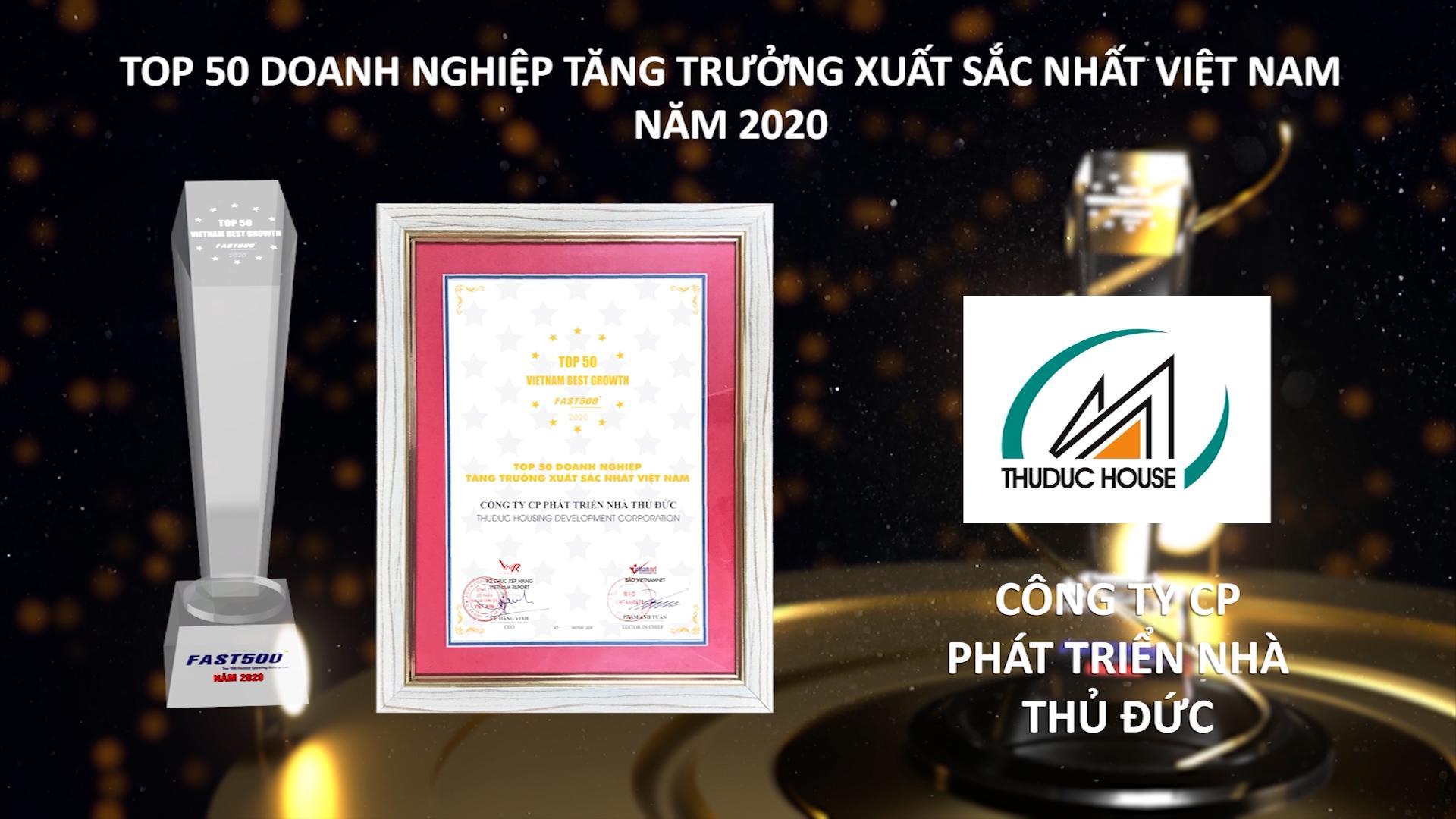 """Thuduc House vinh dự nhận danh hiệu """"Top 50 doanh nghiệp tăng trưởng xuất sắc nhất Việt Nam năm 2020"""""""